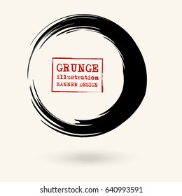 Black ink round stroke on white background. Vector illustration of grunge circle stains.