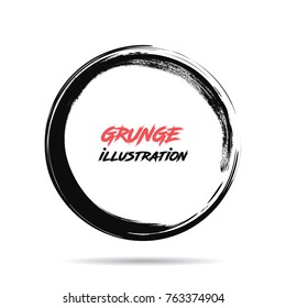 Black ink round stroke on white background. Vector illustration of grunge circle stains. Enso calligraphy element japanese or chinese style