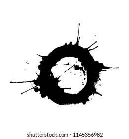 Black ink rounded splash or drop made with brush. Ink splatter. Isolated vector illustration