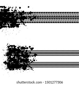 Black ink splash blots with tire track silhouettes isolated on white background