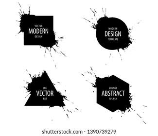 Black ink splash hipster logo design template set