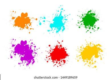 Black ink splashes. Grunge splatters. Abstract background. Grunge text banners