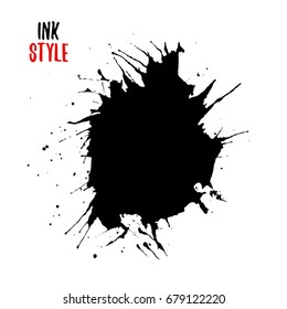 Black ink splatter, black hand drawn blot or splash on white background. Vector isolated illustration