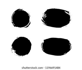 Black ink spots set on white background. Ink vector illustration.