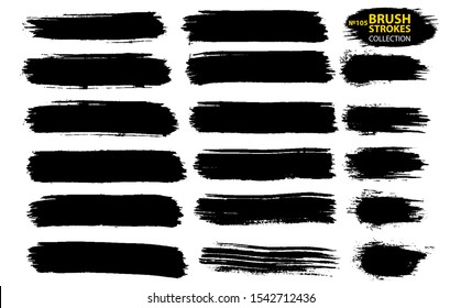 Black ink vector brush strokes. Thin dirty distress texture banners.
