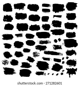 Black ink vector brush strokes and banners. Vector illustration.