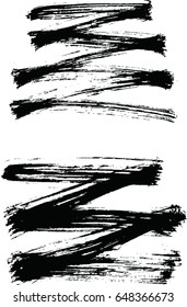 Black ink vector brush strokes . Modern Textured shape