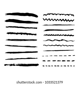 Black ink vector strokes. Wave, dotted, straight, dotted black lines. Acrylic brush line. Hand painted design elements.