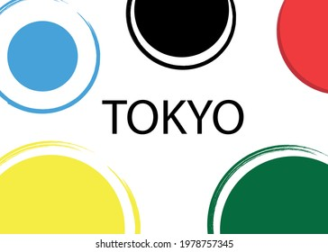 """Black inscription """"TOKYO"""" on a colored background."""