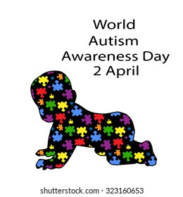 black inscription World Day of autism awareness and black child silhouette, consisting of colorful puzzles on a white background. Symbol of autism. New iridescent Original Vector Illustration