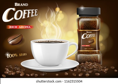 Black instant coffee cup and beans ads design. 3d illustration of hot coffee mug Product with bokeh background. Vector