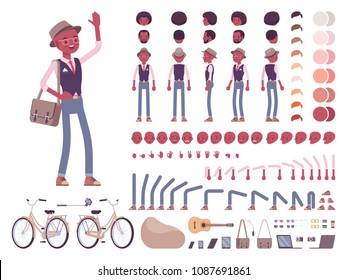 Black intelligent smart casual man with messenger bag, hat, character creation set. Full length, different views, emotions, gestures. Build own design. Cartoon flat-style infographic illustration