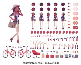 Black intelligent smart casual woman with messenger bag, hat, character creation set. Full length, different views, emotions, gestures. Build own design. Cartoon flat-style infographic illustration
