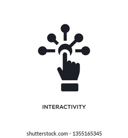 black interactivity isolated vector icon. simple element illustration from augmented reality concept vector icons. interactivity editable black logo symbol design on white background. can be use for