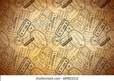 A lot of black International travel visa rubber stamps imprints on old paper, horizontal vintage background