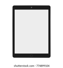 Black ipad tablet with grey screen on white backgorund vector eps10. Ipad tablet computer flat style.