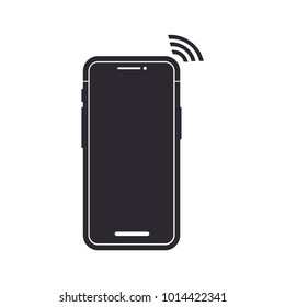 Black iPhone X Vector Icon. Cell Phone Illustration
