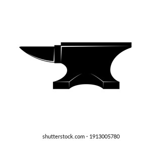 Black iron Anvil icon isolated on white background. Blacksmith anvil tool vector illustration