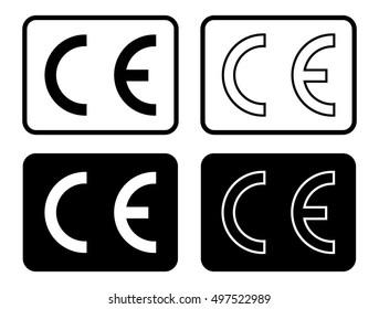 Black isolated CE illustration set, CE mark symbol set, CE mark icons, vector illustration.