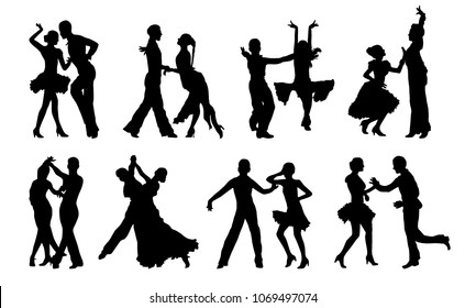 Black isolated dancing couples silhouettes. Latin, waltz, romantic dance figures. For wedding, birthday, holiday invitation.