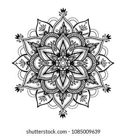 Black isolated ethnic mandala design. Anti-stress coloring page for adults. Hand drawn illustration.