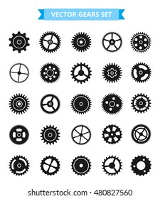 Black isolated gears vector set. Process and mechanics concept signs. Big gears collection.
