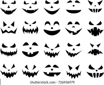 Black isolated halloween pumpkin face patterns on white. Vector illustration.