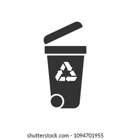 Black isolated icon of container on white background. Silhouette of bin for trash.