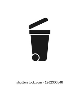Black isolated icon of dumpster on white background. Silhouette of bin for trash. Flat design.