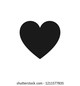 Black isolated icon of heart on white background. Silhouette of heart shape. Flat design.