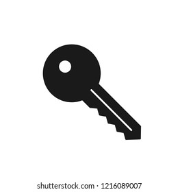 Black isolated icon of key on white background. Silhouette of key. Flat design.