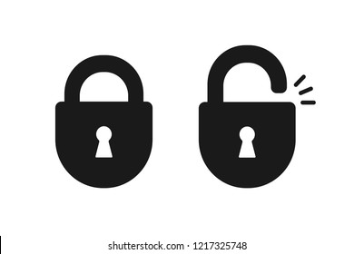 Black isolated icon of locked and unlocked lock on white background. Set of Silhouette of locked and unlocked padlock. Flat design.