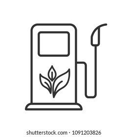 Black isolated outline icon of bio fuel pump on white background. Line Icon of bio fuel station.