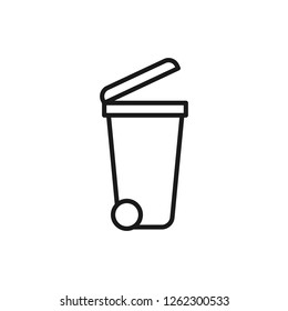 Black isolated outline icon of dumpster on white background. Line Icon of bin for trash.