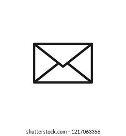 Black isolated outline icon of postal envelope on white background. Line Icon of envelope. Email, mail