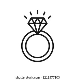 Black isolated outline icon of ring with diamond on white background. Line Icon of wedding ring.