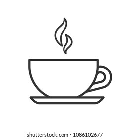 Black isolated outline icon of tea cup on white background. Line Icon of teacup.