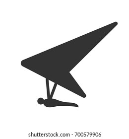 Black isolated silhouette of hang glider on white background. Icon of side view of hang-glider.