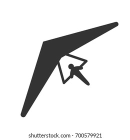 Black isolated silhouette of hang glider on white background. Icon of above view of hang-glider.