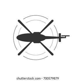 Black isolated silhouette of helicopter on white background. Icon of above view of helicopter.