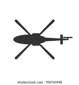 Black isolated silhouette of helicopter on white background. Icon of above view of helicopter
