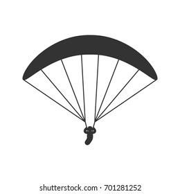 Black isolated silhouette of paraglider on white background. Icon of side view of parachute.