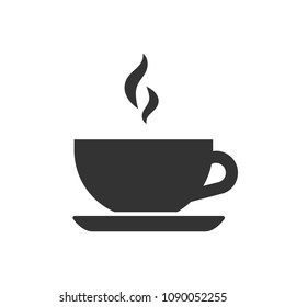 Black isolated silhouette of tea cup on white background. Icon of teacup.