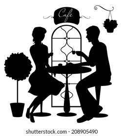 Black isolated silhouettes of boy and girl in cafe. Vector