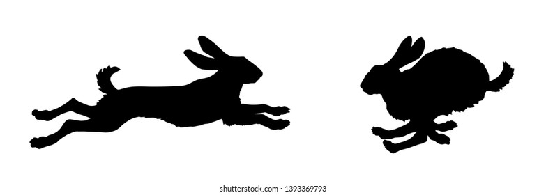 black isolated silhouettes of jumping hares on white background, silhouettes of forest animals