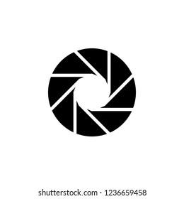 Black isolated symbol of camera lens shutter diaphragm aperture.