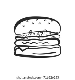 Black isolated vector outline hamburger icon. Minimalistic cartoon linear american burger symbol for fast food restaurant or cafe menu, advertisement, banner, web design.