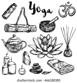 Black isolated yoga sketch icon set with elements and accessories of this sport vector illustration