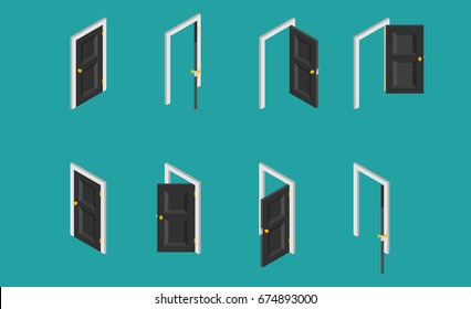 Black isometric door. Set of the opened and closed doors. Vector illustration.