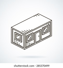 Black isometric line vector icon office container on white background.
